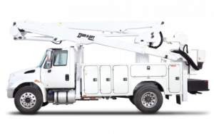 White truck with Dur-A-Lift bucket